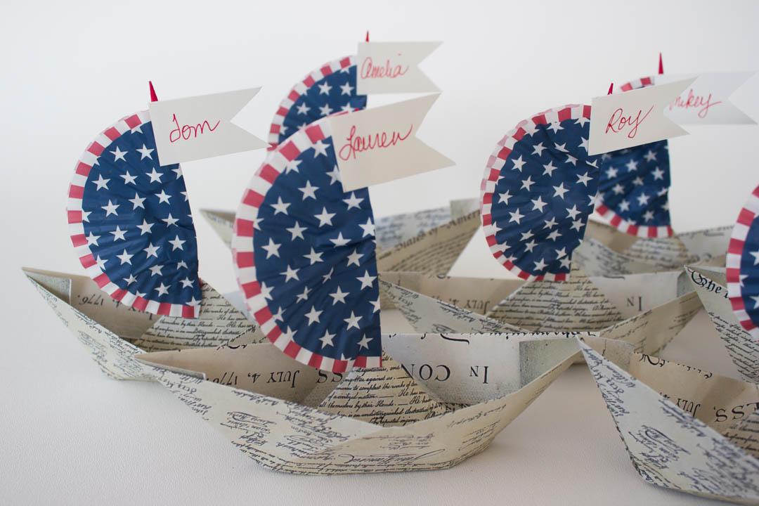 Paper Boat Patriotic Table Decorations