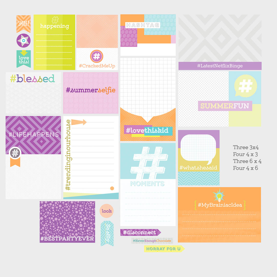 Hashtag Theme Scrapbooking Cards