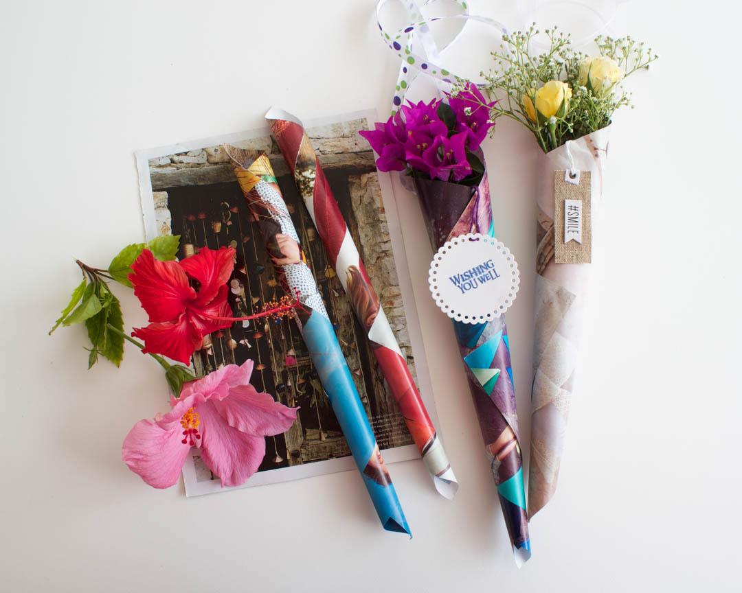 Magazine paper flower cones