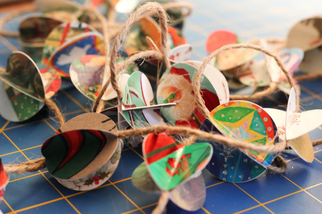 Recycled Christmas Card Tree Garland | Make Today Creative